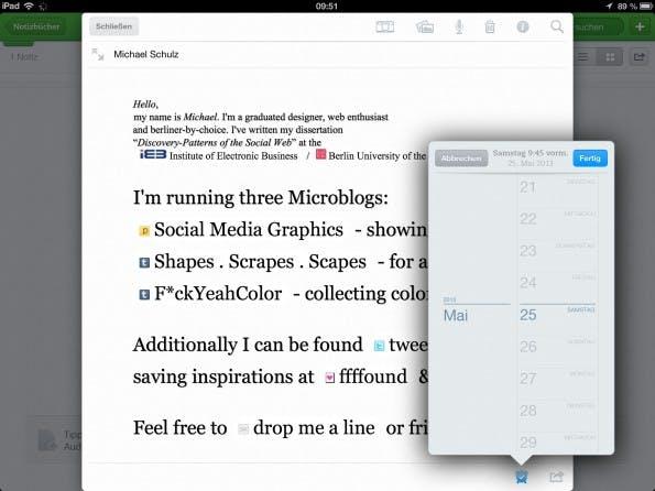 Erinnerungen in der iPad-App wie auch in der iPhone-App sind schön gelöst. (Screenshot: iPad-App)