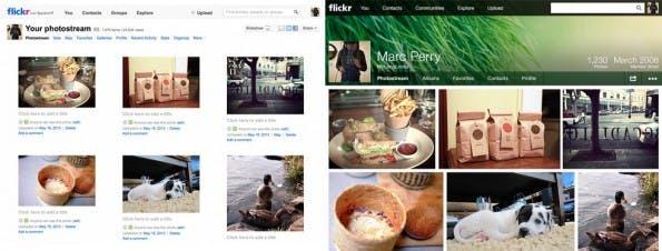 Flickr Fotostream alt (li.) und neu.
