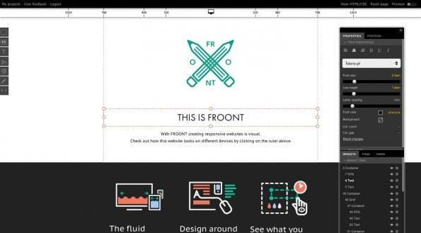 Im Editor von Froont lassen sich alle Elemente für verschiedene Auflösungen anpassen. (Bildquelle: Screenshot froont.com)