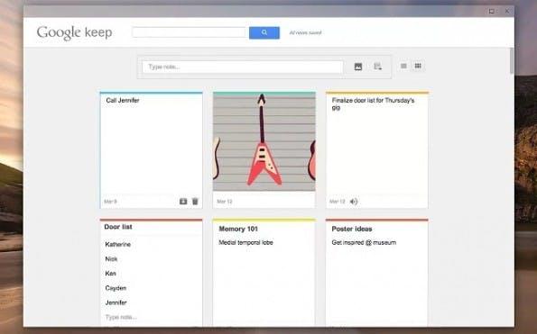 Die Chrome-App zu Google Keep öffnet sich in einem eigenen Fenster.