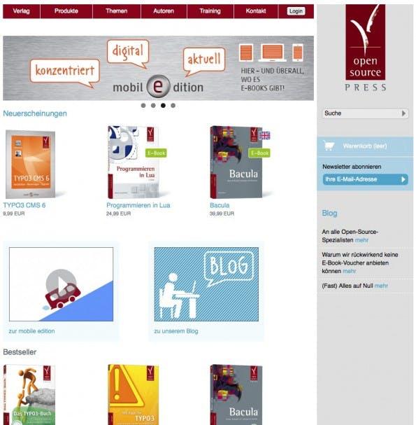 Neue Webseite des Verlags Open Source Press mit integriertem Online Shop