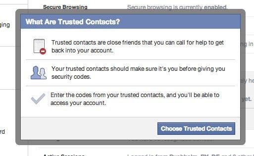 """Mit """"Trusted Contacts"""" können Nutzer drei bis fünf Freunde auswählen, die Facebook beim Verlust des Passwortes kontaktiert kann. (Screenshot: )"""