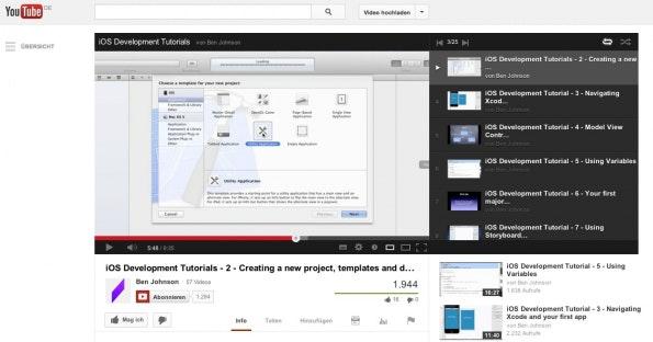 tutorials app-entwicklung ios youtube