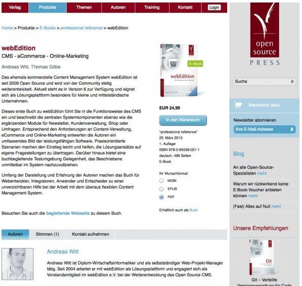 Abbildung 2: Buchvostellung mit der Anzeige der verfügbaren Dateiformate (Varianten des Artikels)