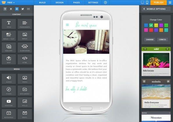 Die Mobile-Ansicht im neu gestalten Editor des Homepage-Baukastens Weebly.