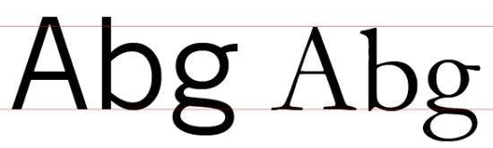 Zwei Schriftarten dargestellt in der selben Schriftgröße und an der Baseline ausgerichtet (links: News Gothic, rechts: Garamond)