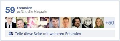 """Der """"Freunde-Einladen""""-Button, befindet sich auch der Facebook-Timeline der jeweiligen Seite. (Screenshot: t3n Facebook)"""