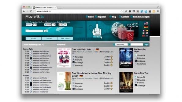 Movie2k.to ist unter neuem Namen online, er lautet: Movie4k.to. (Screenshot: movie4k.to)