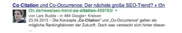 Nicht ganz optimal gelöst: Dieser URL fehlt der HInweis auf das Keyword Co-Occurence. (Screenshot: google.de)