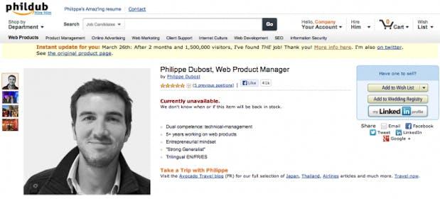"""Philippe Dubost hat weiß als """"Produktmanager"""" wie man richtig vermarktet. Sein Stellengesuch im Amazon-Stil ging um die ganze Welt. (Screenshot: phildub.com)"""