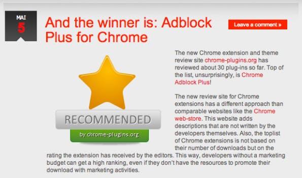 Till Faida wirbt für Adblock Plus auf angeblich unabhängige Web-Portale. Tatsächlich gehören Domains dem Geschäftsführer. (Screenshot: chromeadblock.org)