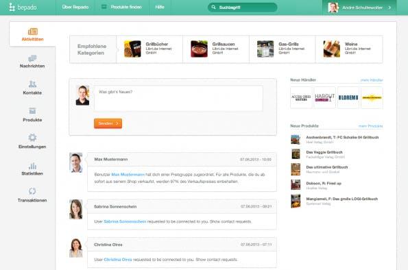 Der bepado Activity-Stream - vergleichbar mit dem gängigen News-Stream in sozialen Netzwerken.  (Screen: shopware AG)