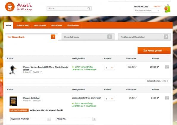 So kann dann letzlich der Warenkorb aussehen. Das Kernprodukt des Online-Händlers wurde ergänzt um ein passendes Buch. (Screen: shopware AG)