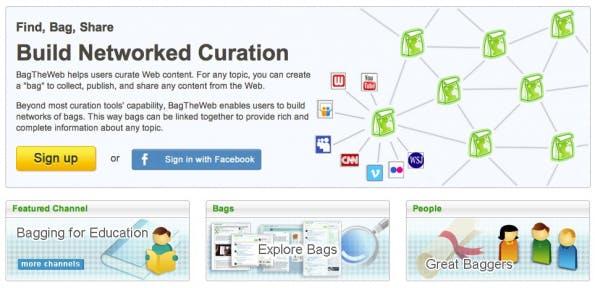 BagTheWeb ist einer dieser Bookmarking-Dienste, mit denen sich gesammelte Inhalte auch kuratieren lassen. (Screenshot: BagTheWeb)