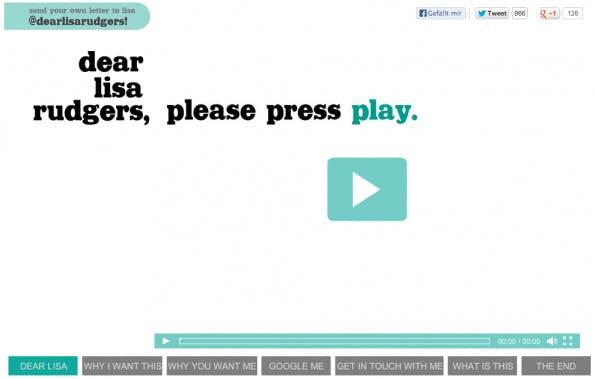 """Die Kampagne """"Dear Lisa Rudgers"""" von Lindsey Blackwell hat zwar nicht zur angestrebten Stelle geführt, allerdings bekam die Bewerberin ein Angebot der Agentur ingenex. (Screenshot: dearlisarudgers.com)"""