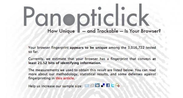 Fingerprinting wird schon heute eingesetzt, um Nutzer online zu tracken, und ist im Vergleich zu Cookies kaum zu erkennen. Wer sehen will, wie leicht er anhand seines verwendeten Rechners identifiziert werden kann, erfährt am Ende des Artikels, wie das geht. (Screenshot: Panopticlick)