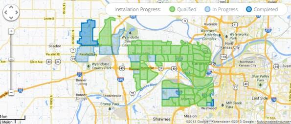 Statuskarte der Google-Fiber-Installation in Kansas City KS. (Screenshot: fiber.google.com)