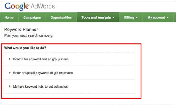 Einblicke in den neuen Keyword-Planner (Screen: Google)