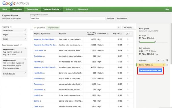 Einblicke in den neuen Keyword-Planner (Screen: Google)