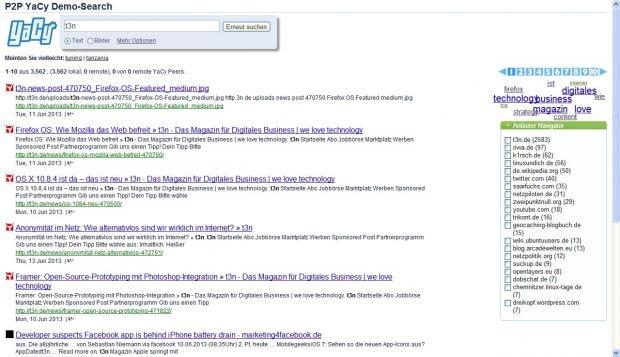 YaCy: Google Alternative als P2P-Lösung. (Screenshot: YaCy)