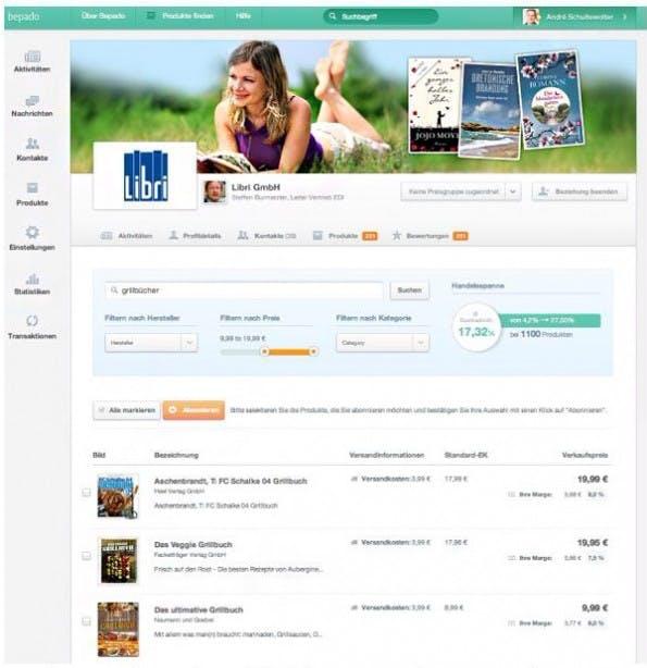 Direkt zum Start der Beta-Phase steht der bekannte Grossist Libri mit seinem Buch-Sortiment zur Verfügung (Screenshot: shopware AG)