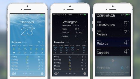 Apple Wetter iOS7 (kostenlos) Oh was ist die App schön geworden. Es zeigt das Wetter wie die Yahoo-Wetter-App an, kann mehrere Orte verwalten und präsentiert schöne Wetter-Animationen wie Regen und Schnee. Alles drin, alles dran –ein Tipp.
