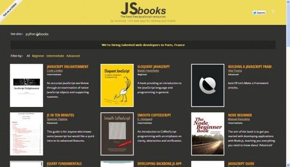 JSbooks ist eine Sammlung von kostenfreien eBooks zum Thema JavaScript. (Screenshot: JSbooks)