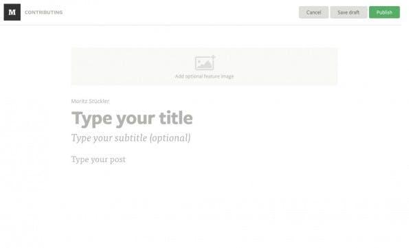 Der Editor von Medium.com ist wie das Frontend absolut minimalistisch gestaltet.