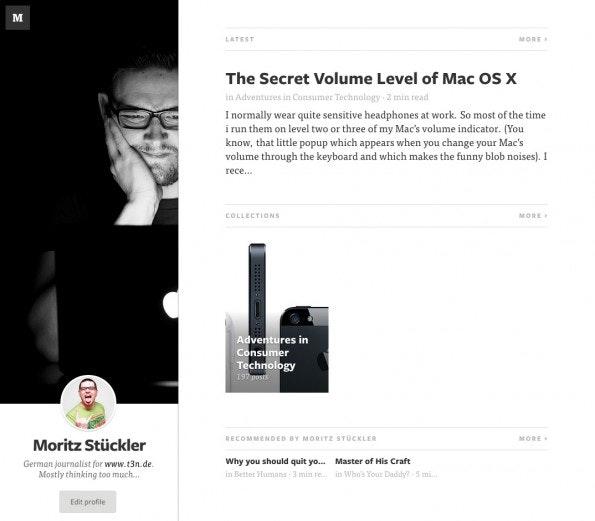 Auch Profile auf Medium.com sehen relativ einheitlich aus. Bis auf ein Titelbild und einen Kurztext können die Nutzer nicht viel individualisieren.