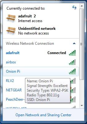 Wenn alles geklappt hat, kann sich jedes WLAN-Gerät mit dem Onion Pi verbinden, und anonymisiert surfen. (Bildquelle: Adafruit.com)