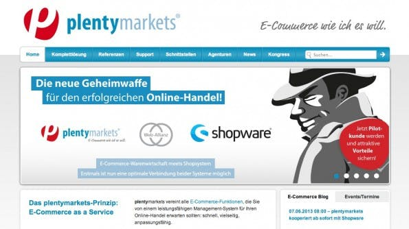 Plentymarkets und Shopware gehen eine Allianz ein. (Screenshot: plentymarkets.eu)