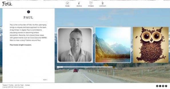"""Folk Digital lebt das Storytelling visuell vor. Der Bereich """"Team"""" auf der Agentur-Seite gibt in Bildsprache einen persönlichen Eindruck von jedem Mitarbeiter wieder. (Screen: Folk Digital)"""