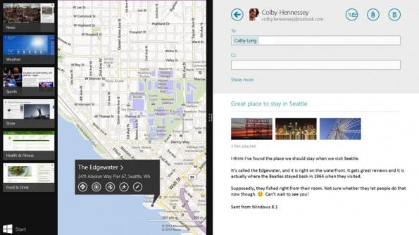 Windows 8.1 kann auch Apps nebeneinander anzeign. (Screenshot: Microsoft)
