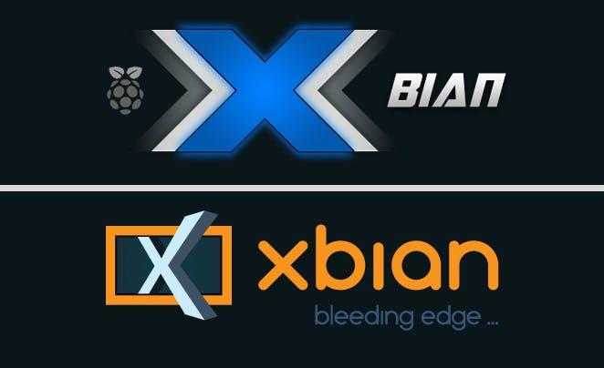 Das neue XBian-Logo (unten) wirkt deutlich seriöser und aufgeräumter als das alte Logo (oben).