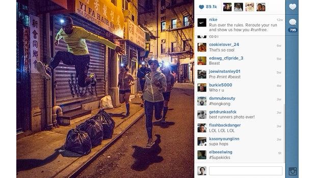 """Platz 1 – Nike: Mit dem Hashtag #runfree fordert Nike seine Follower gerne heraus, außergewöhnliche Strecken zu laufen und Pics dieser Momente mit der Nike-Community zu teilen. (Bild: <a href=""""http://instagram.com/p/YBxGnjAUUU/"""">Nike Instagram</a>)"""
