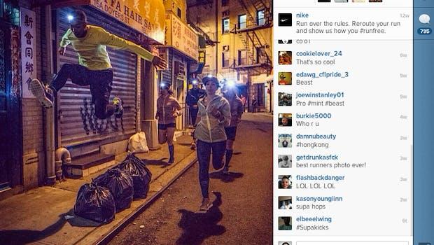 Platz 1 – Nike: Mit dem Hashtag #runfree fordert Nike seine Follower gerne heraus, außergewöhnliche Strecken zu laufen und Pics dieser Momente mit der Nike-Community zu teilen. (Bild: Nike Instagram)
