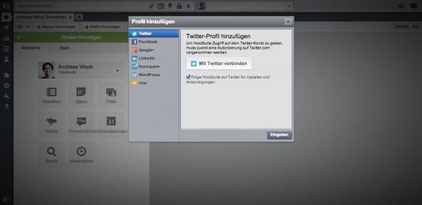 HootSuite kann sieben verschiedene Social Networks einbinden: Twitter, Facebook, LinkedIn, Google+, foursquare, WordPress und mixi. (Screenshot: HootSuite)