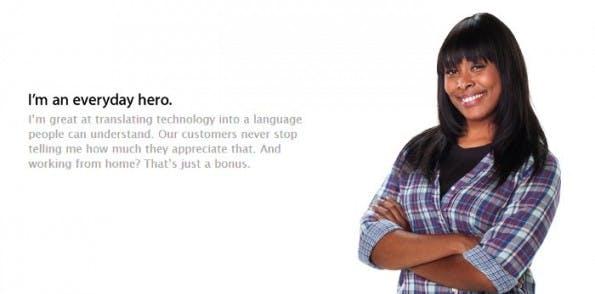 Home Office bei Apple: So wirbt das Unternehmen für den Job. (Screenshot: Apple)