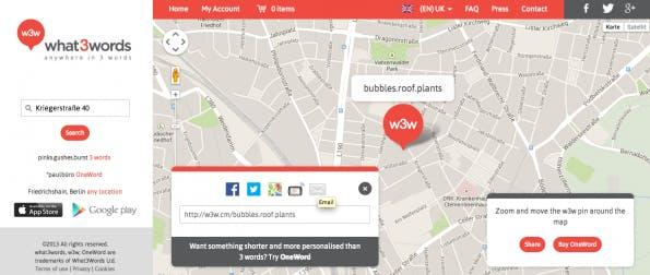 Location aus w3w.com teilen. (Screenshot auf w3w.com)