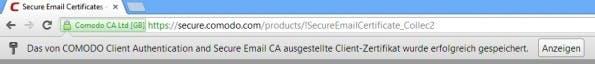 Chrome-Zertifikat-gespeichert