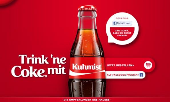 Trink eine Cola mit Kuhmist. Ähm, nein! (Screenshot: coke.de/deinname)