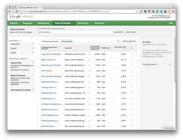 "Die Standard-Auswahl ""Anzeigengruppen-Ideen"" des Google Keyword Planer taugt leider nicht. (Screenshot: adwords.google.com)"