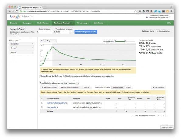 Die finale Ansicht nach weiteren Einstellungen. Jetzt fehlt nur noch der Export. (Screenshot: adwords.google.com)