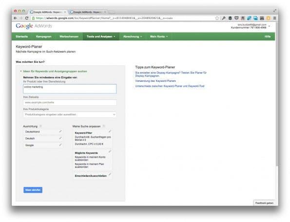 In diesem Schritt wählen Nutzer die Ausgangsbegriffe. (Screenshot: adwords.google.com)