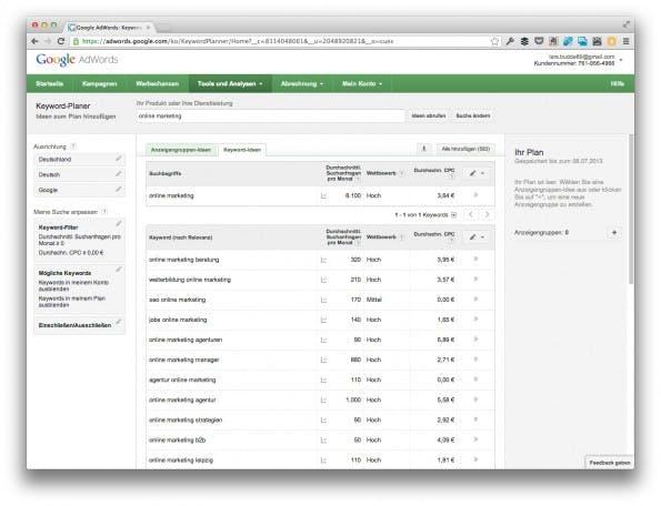 """Um effektiv zu arbeiten, sollten Nutzer zum Reiter """"Keyword-Ideen"""" wechseln. (Screenshot: adwords.google.com)"""