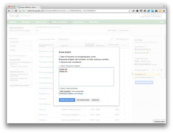 Alternativ können Nutzer auch manuell Keywords eingeben beziehungsweise Keyword-Listen hochladen. (Screenshot: adwords.google.com)