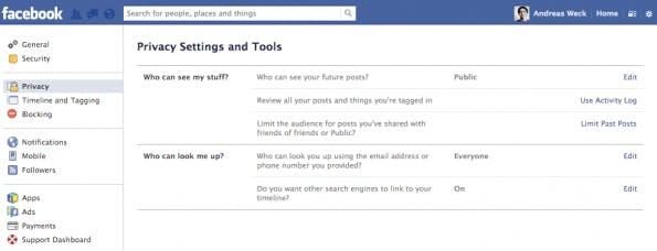 Damit für die Graph Search Inhalte nicht auffindbar werden, sollte man in den Privatsphäre-Einstellungen die Auffindbarkeit der Inhalte einschränken. (Screenshot: Facebook)