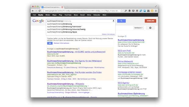 Google selbst hilft bei der Keyword-Recherche. (Screenshot: google.com)