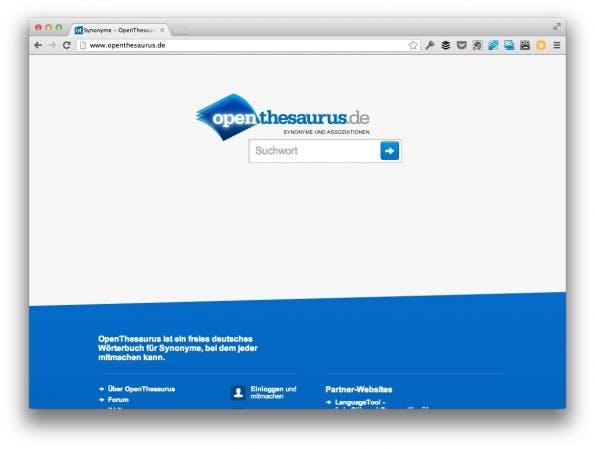 OpenThesaurus: Ein weiterer Anhaltspunkt bei der Keyword-Recherche. (Screenshot: openthesaurus.de)