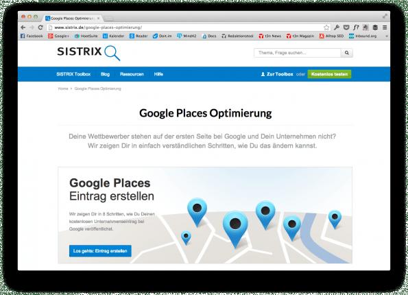 """Kostenlose Anleitung rund um """"Local SEO"""" von Sistrix. (Screenshot: sistrix.de)"""